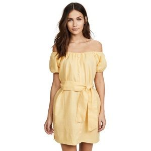 Faithfull The Brand Linen Off The Shoulder Dress